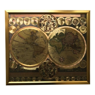 Framed Gold Foil World Map Print