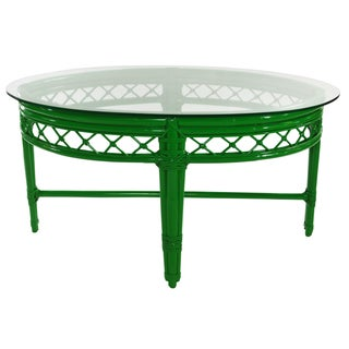 Ficks Reed Trellis Green Rattan Coffee Table