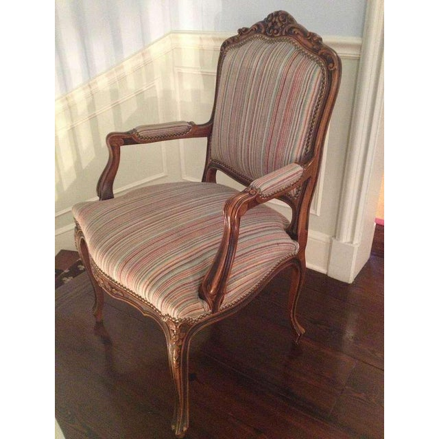 Pair of French Walnut Upholstered Armchairs - Image 6 of 11