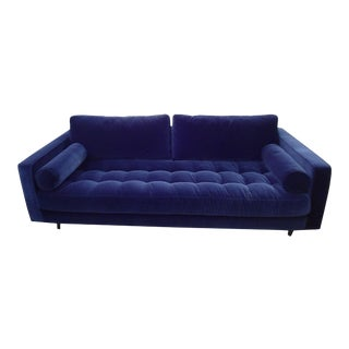 Sven Cascadia Blue Tufted Sofa