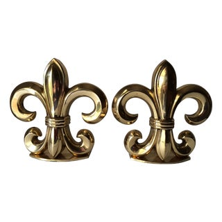 Solid Brass Fleur De Lis Bookends - Pair