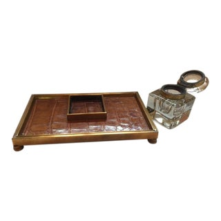 19th Century Glass and Brass Inkwell and Crocodile Skin Pen Tray