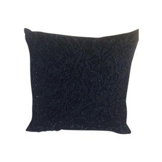 Ralph Lauren Vintage Blue Beaded Silk Pillow