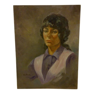 Circa 1970 Lady in a Vest by Tom Sturges Original Painting