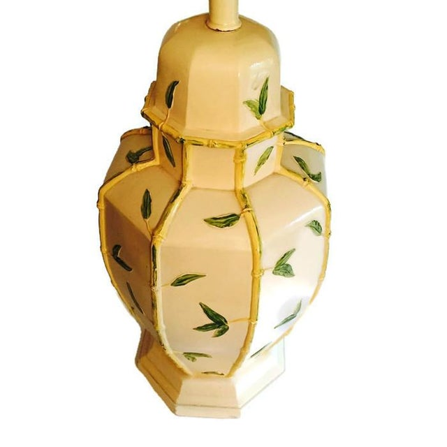 Image of Vintage Hollywood Regency Faux Bamboo Lamp