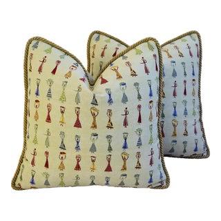 Designer Donghia Au Marche Jacquard Feather/Down Pillows - A Pair