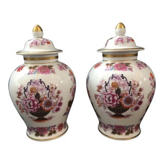 Limoges Porcelain Covered Jars - a Pair