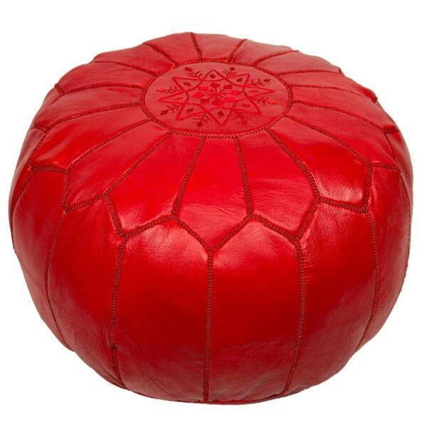 Red Embroidered Leather Pouf Stuffed Chairish
