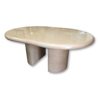 Karl Springer Style Lacquered Goat Skin Expanding Table
