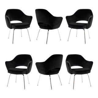 Saarinen for Knoll Executive Arm Chairs in Black Velvet - Set of 6