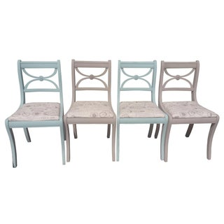 French Style Mauve & Blue Chairs - Set of 4