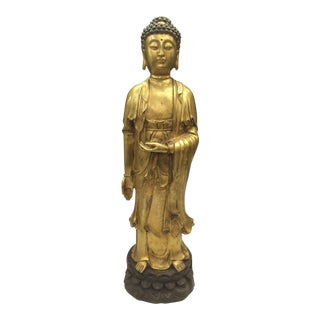Chinese Art Gold Gilt Bronze Standing Kwan Yin Sculpture