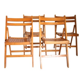 Vintage Wood Slat Folding Chairs - Set of 4