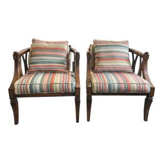 Vintage Upholstered & Wood Barrel Back Chairs