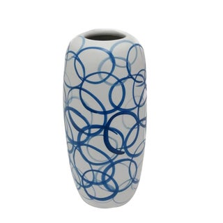 Tall White With Blue Circles Vase , China, Contemporary