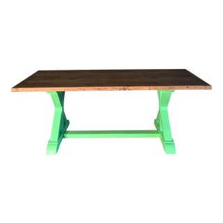 Green Painted Pine Farm Table