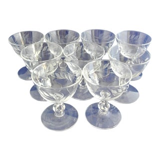 Antique Etched Crystal Champagne Coupes - Set of 9