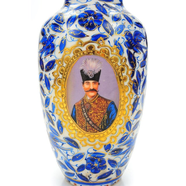 Antique Persian Blue & White Porcelain Vase - Image 6 of 9
