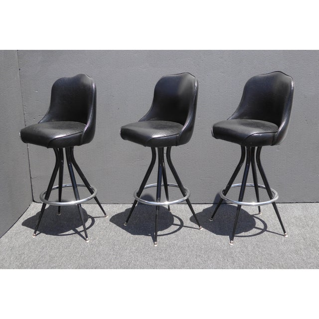 Vintage Mid-Century Modern Black Vinyl & Chrome Swivel Bar Stools - Set of 3 - Image 4 of 10