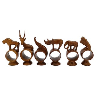 African Carved Teak Napkin Rings- Set of 6