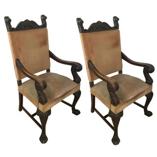 Antique French Carved Arm Chairs - A Pair