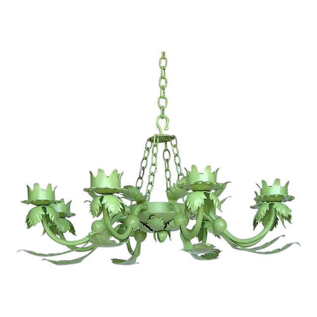 Painted Wrought Iron Chandelier - Image 1 of 7