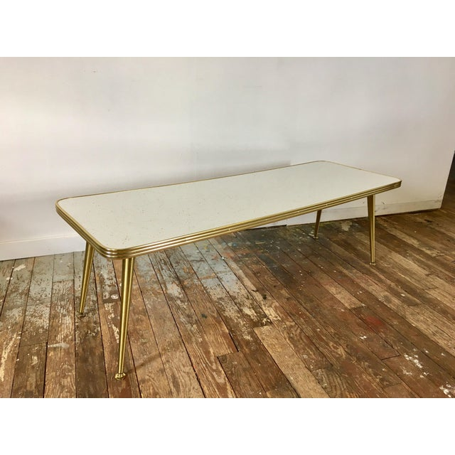 Mid-Century Brass & Formica Coffee Table - Image 3 of 8