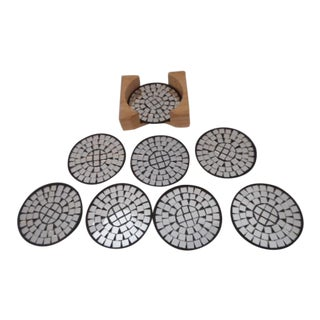 Mid Century Modern Mirror Mosaic Coasters - Set of 8