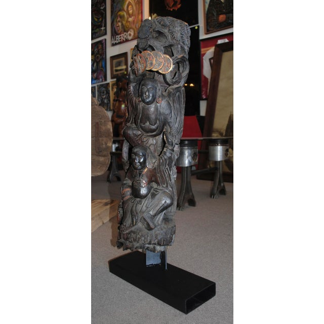 Antique Chinese Carved Wood Guardian Sculpture - Image 3 of 11