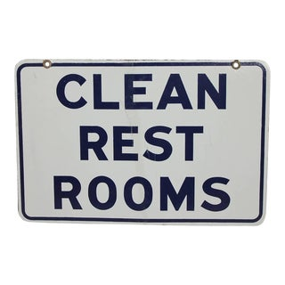 "1950's Porcelain Double Sided Sign "" Clean Rest Rooms"""