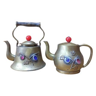 Vintage Brass Jeweled Tea Pots - A Pair