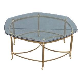 Vintage Maison Jansen Style Mid-Century Octagonal Brass & Glass Coffee Table