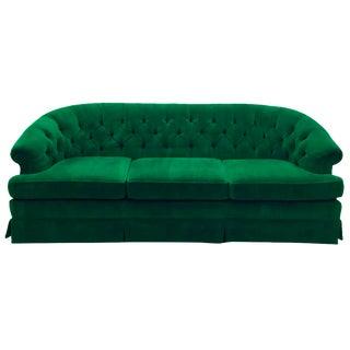 Vintage Tufted Back Green Velvet Sofa