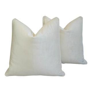 Scalamandre Ivory White Velvet Down & Feather Pillows - Pair