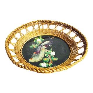 Vintage Feather Bird Art Wicker Tray