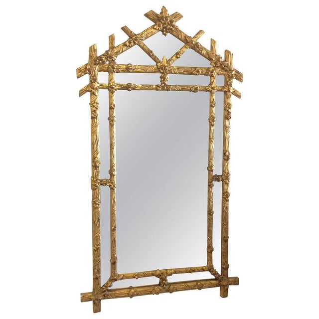 Vintage Hollywood Regency Floral Faux Bois Giltwood Wall Mirror - Image 8 of 8