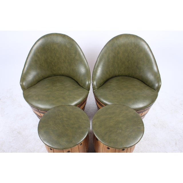 Oak Barrel Seating with Stools - Set of 4 - Image 5 of 7
