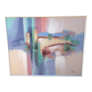 Large Vintage Signed Abstract Painting