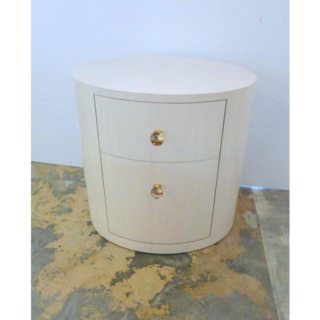 Italian-Inspired 1970S Style Oval Nightstand - Image 2 of 8