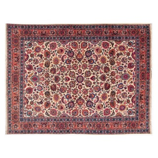 "Vintage Hand-Knotted Persian Rug - 9'7"" X 12'9"""