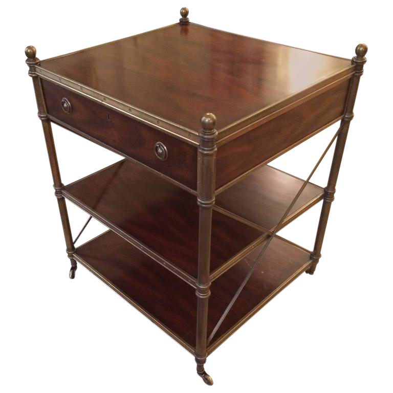 Perfect Rich Campaign Style Mahogany And Brass Side Table Or Nightstand