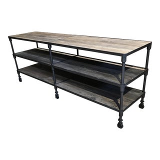 Reclaimed Wood and Hammered Iron Console
