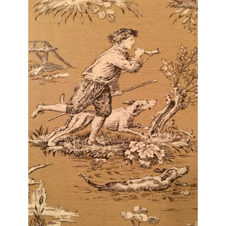 "Sanderson Toile Collection ""Stag Hunting"" in Caramel Wallpaper - Four Double Rolls"