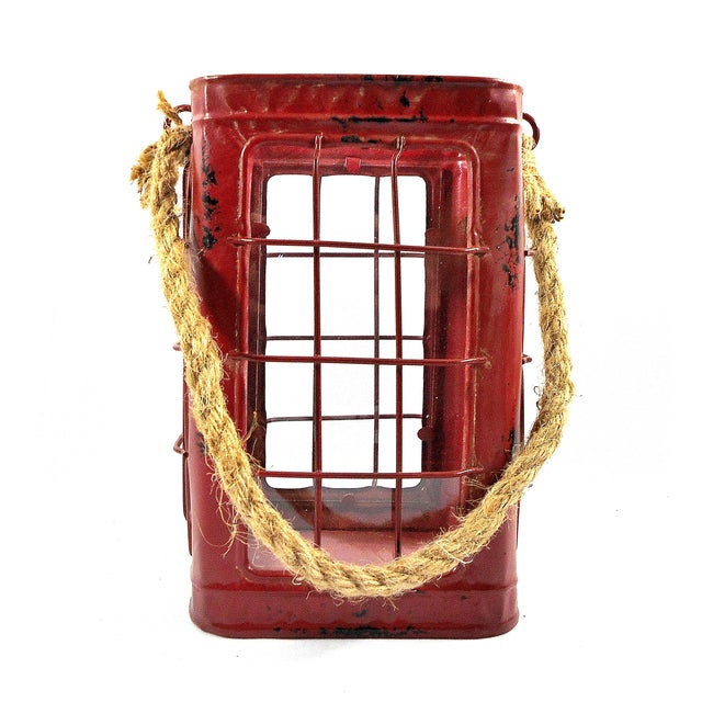 Red Rustic Tin Glass Candle Lantern & Rope Handle - Image 1 of 6
