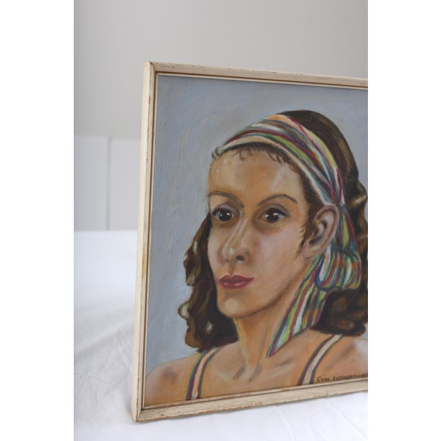 Vintage Portrait of Woman Oil Painting - Image 3 of 7