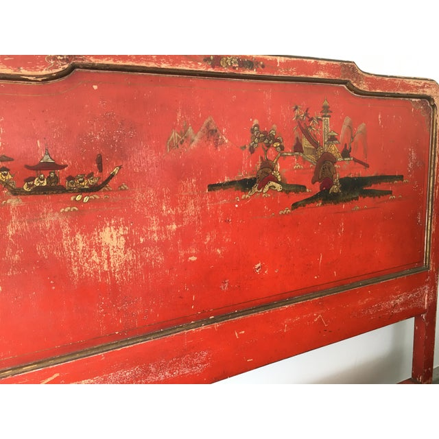 Vintage Chinoiserie Styled Wooden Headboard - Image 3 of 6