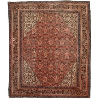 "RugsinDallas Antique Hand Knotted Wool Persian Mahal Rug - 10'6"" X 12'7"