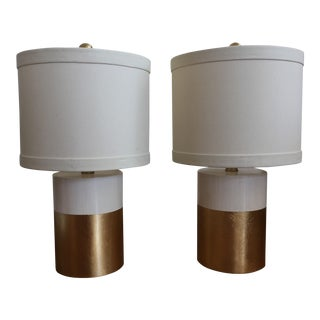 Gilded White Ceramic Lamp With Shades - A Pair
