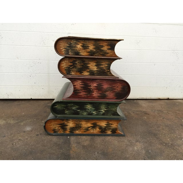 Italian Metal Tole Painted Book Stack Table - Image 6 of 9