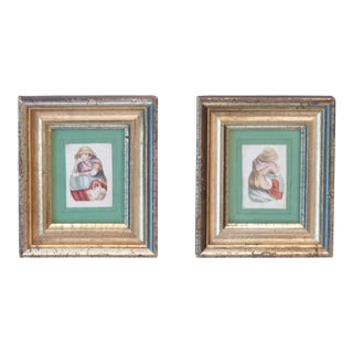 1831 Small Silver Gilt Framed Watercolors - A Pair